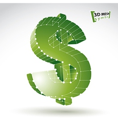 3d mesh stylish web green dollar sign isolated on vector