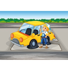 a girl holding a tool beside a car with a flat vector image
