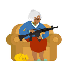 African american grandmother with gun old woman vector