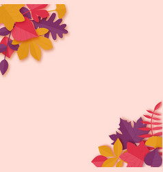 Autumn leaves paper art style background origami vector