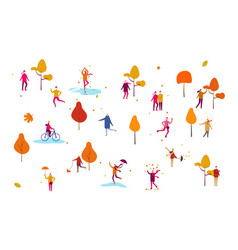 autumn season background with people flat style vector image