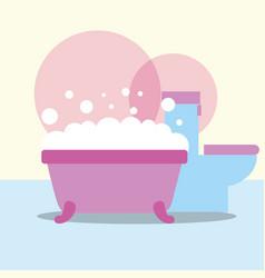 bathtub and toilet bubbles foam bathroom vector image