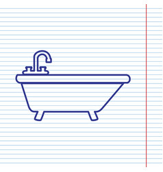 Bathtub sign navy line icon vector