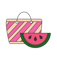 beach bag and watermelon tropical summer vector image