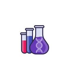 Biotechnology icon with lab test tubes and dna vector