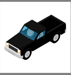 black pickup truck car isometric view isolated on vector image