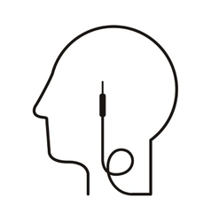 black silhouette head with jack connector vector image