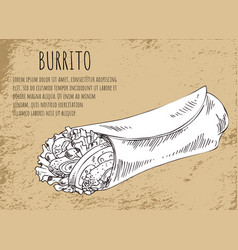 Burrito mexican food poster vector