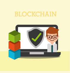 Businessman business laptop blockchain check mar vector