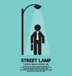 Businessman Walking Under Street Lamp vector image