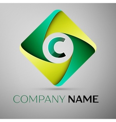 C letter colorful logo in the rhombus template for vector