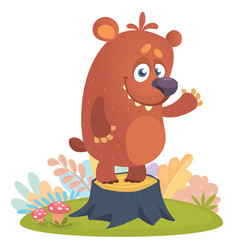 Cartoon little bear standing on tree stump vector