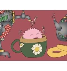 Cartoon monster tea cup samovar khokhloma teapot vector