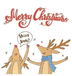 Cheerful Christmas Reindeer vector image