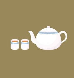chinese porcelain teapot in flat design vector image