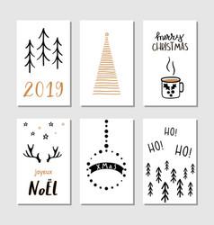 christmas hand drawn greeting cards vector image
