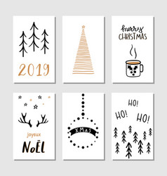 christmas hand drawn greeting cards with vector image