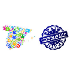 christmas sale composition of mosaic map of spain vector image