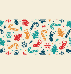 christmas seamless pattern sock tree snow flakes vector image