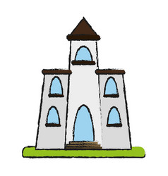 Church cartoon flat draw vector