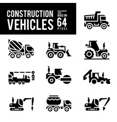 construction vehicle and transport glyph and vector image
