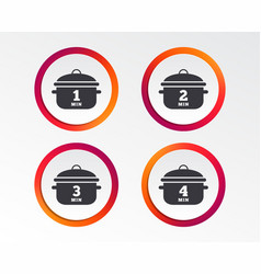 cooking pan icons boil one four minutes vector image