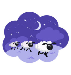Counting sheep in a dream bubble isolated vector
