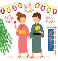 couple at japanese summer festival vector image