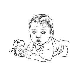 Drawing of male baby playing elephant toy vector image