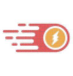 Electrical rush halftone dotted icon with fast vector