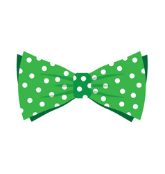 elegant green bow tie with white polka dots vector image vector image