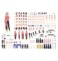 Elegant woman animation kit or diy set collection vector