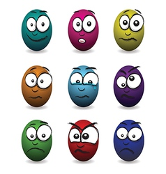 emotions eggs coloured group vector image