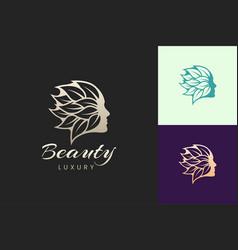 Facial beauty care logo template in luxury vector
