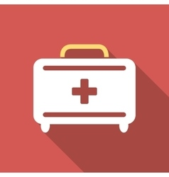 First Aid Toolkit Flat Square Icon with Long vector image