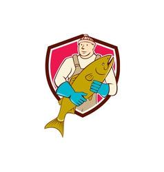 Fishmonger Holding Salmon Fish Shield Cartoon vector image