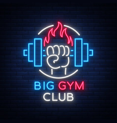 fitness gym logo sign in neon style isolated vector image
