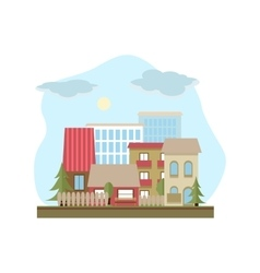 Flat design urban landscape day vector image