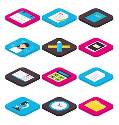 Flat School Education and Learning Isometric Icons vector image