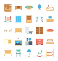 Furniture Colored Icons 3 vector