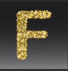 Gold glittering letter f shining golden vector