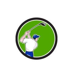 Golfer Swinging Club Circle Cartoon vector image