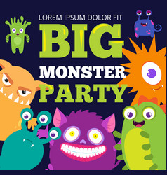 Halloween monster party banner template with cute vector