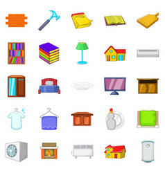 Handy icons set cartoon style vector