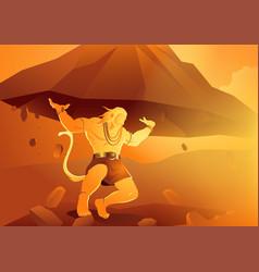 Hanuman lifting up dronagiri mountain vector