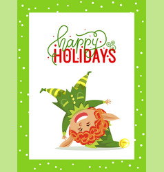 Happy holidays christmas greeting card with elf vector