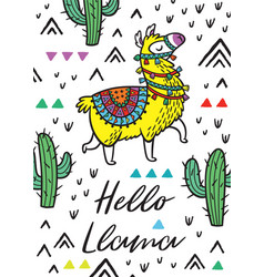Hello llama print with alpaca and cactuses vector