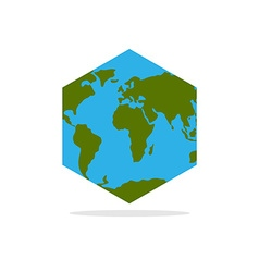Hexagonal atlas earth world map with continents vector