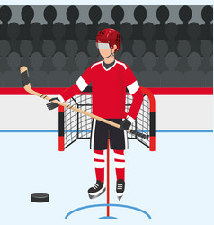 Hockey player with professional uniform and puck vector