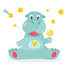 Image of a funny hippo with a lollipop vector